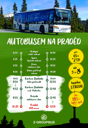 Senioři a držitelé ZTP dojedou na Praděd autobusem